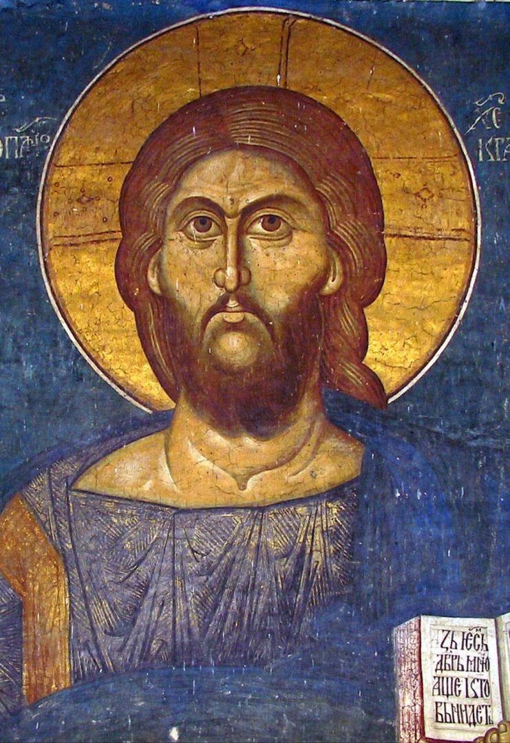 Serbian fresco Christ Pantokrator Church in Decani