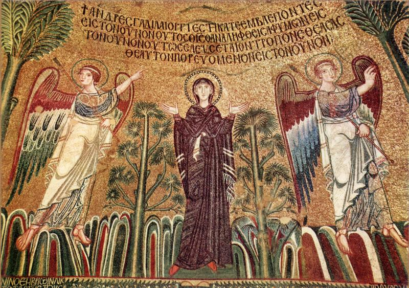 Byzantine Orant Theotokos and two angels
