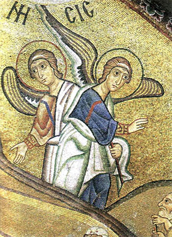 Two Angels - mosaic in Hosias Loukas