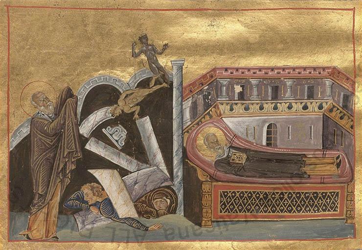 Byzantine art - Earthquake in Menologion