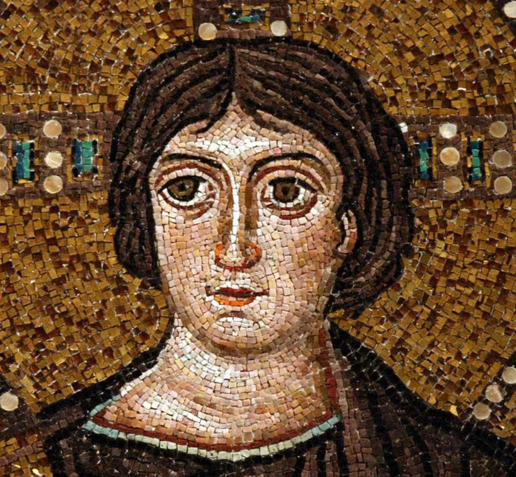Face of Christ in Glory mosaic in San Vitale