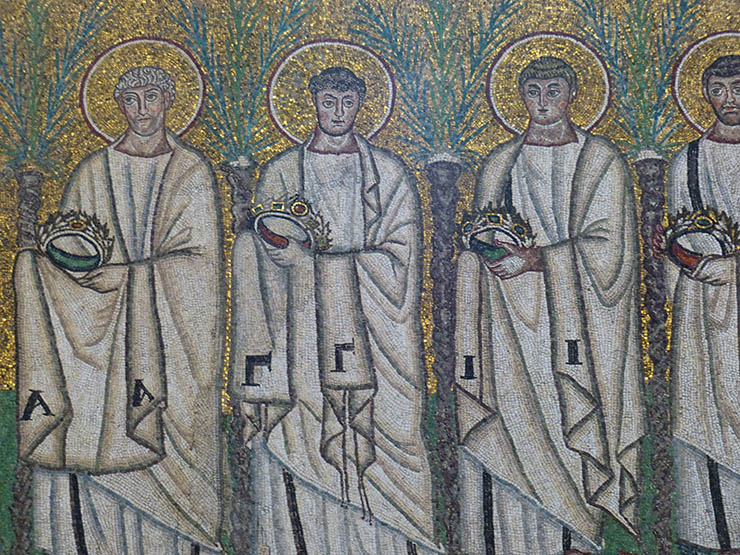 Processsion of male martyrs in Ravenna