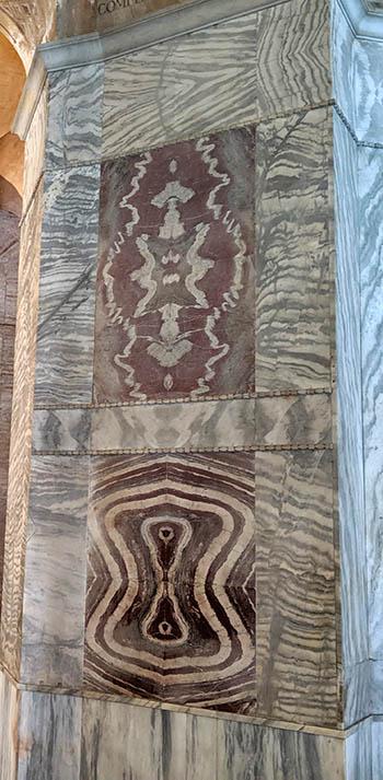 Beautiful marble revetment in San Vitale