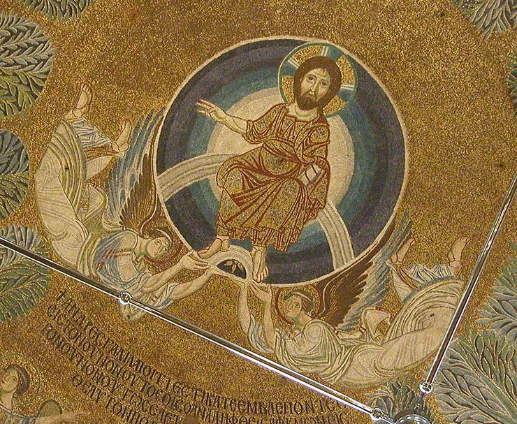 Christ with angels - Byzantine Mosaic Thessaloniki