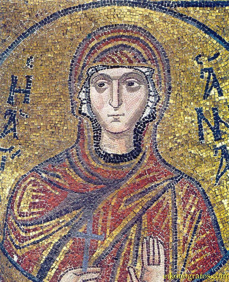 Byzantine Art - a mosaic of a female saint
