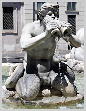 The Orginal Triton Merman in the Piazza Navona in Rome