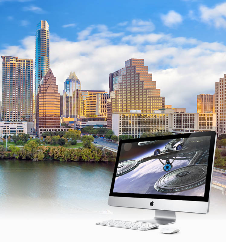 Austin skyline with Apple Computer