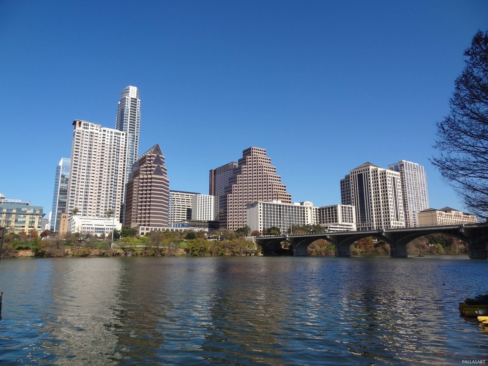 Austin Downtown Skyline over Lady Bird Lake