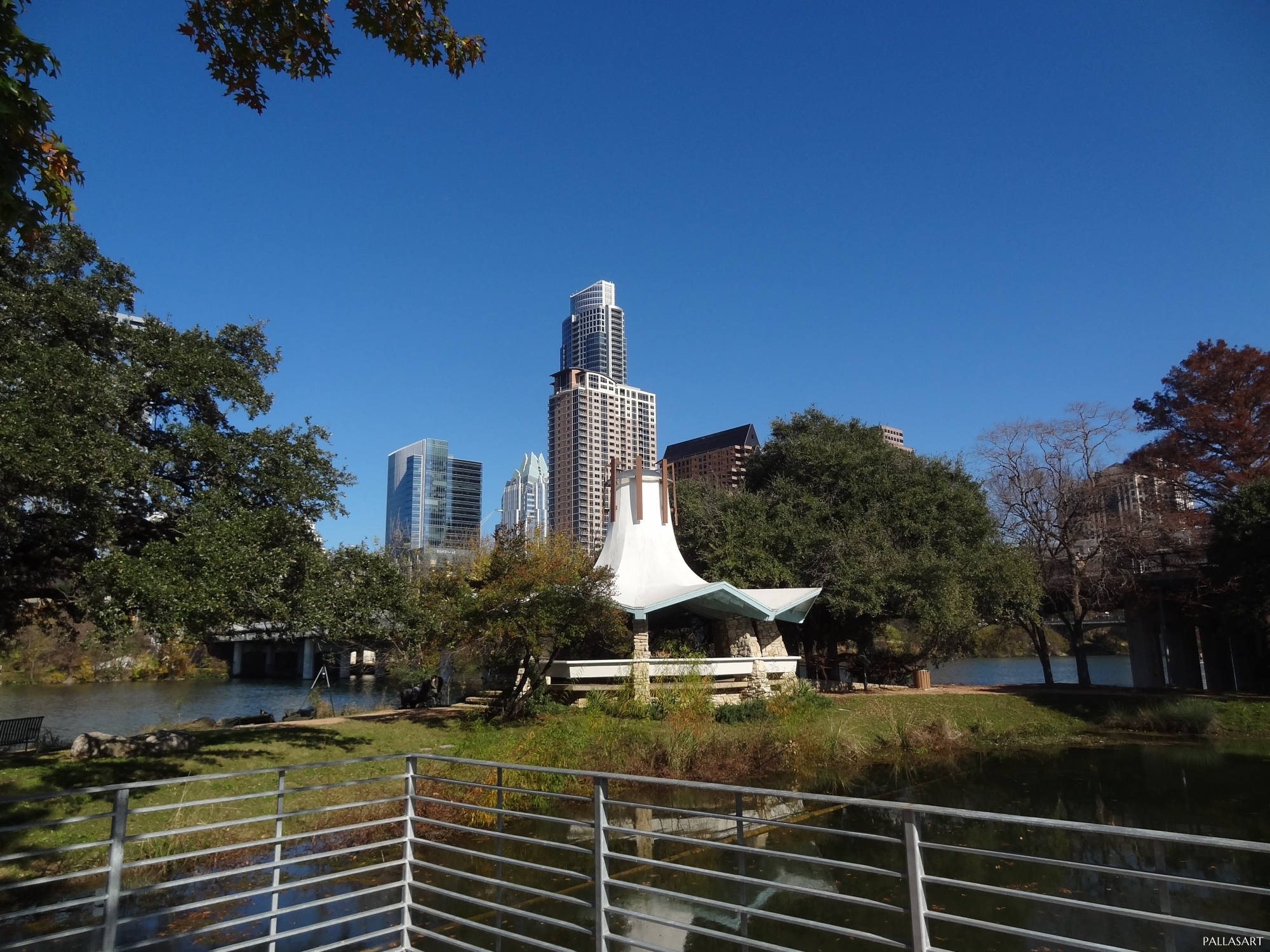Auditorium Shores Gazebo with Austin skyline in background
