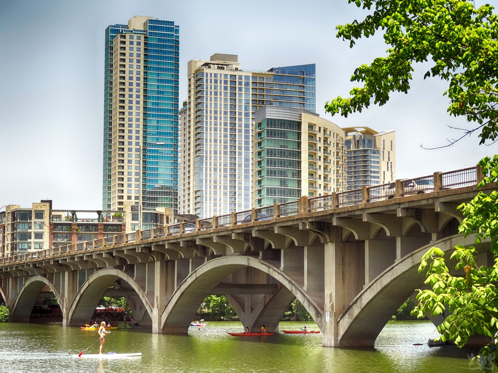 Lamar Street Bridge with Stand Up Paddleboarder