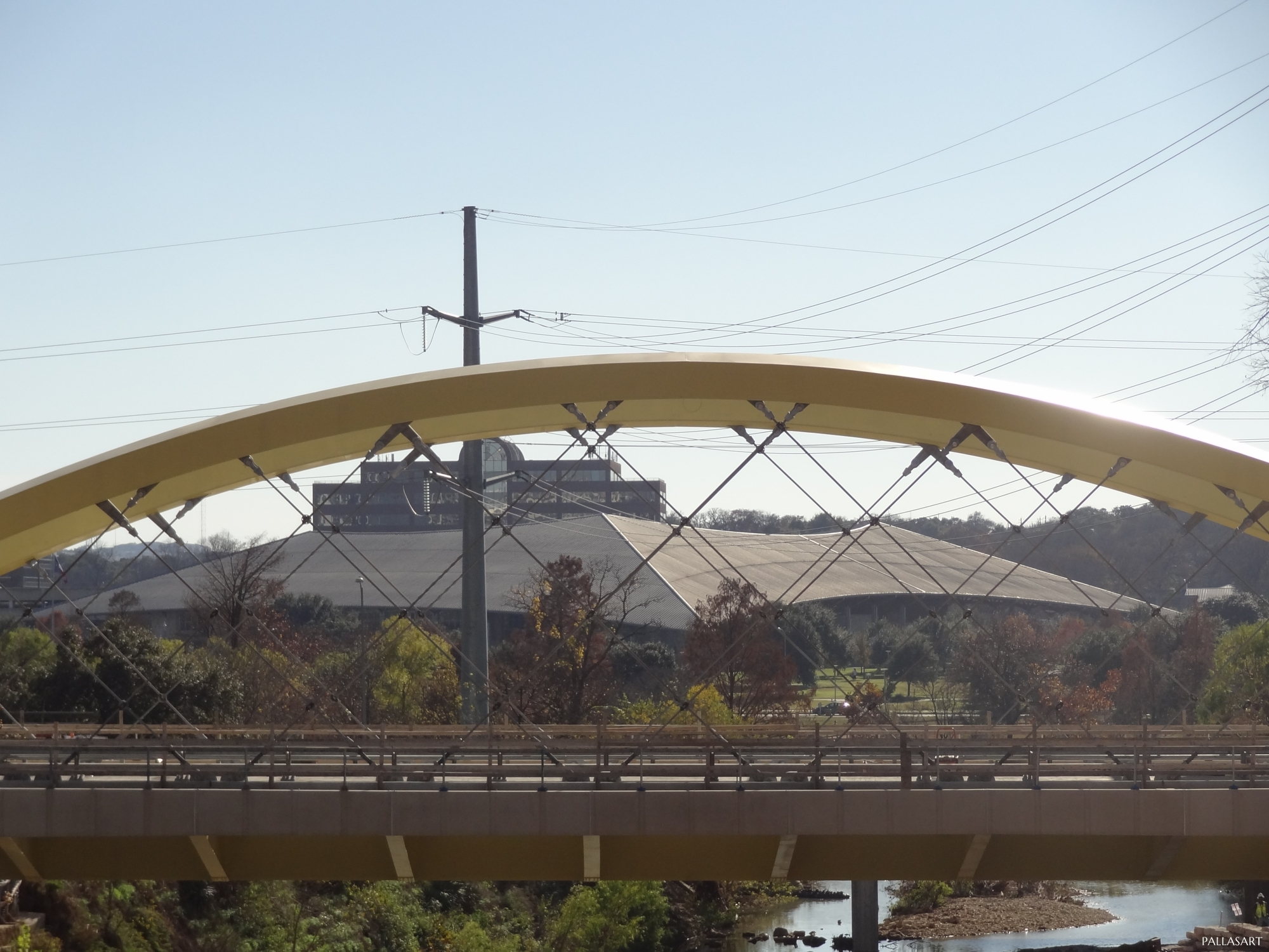 Seaholm Wing Bridge with Palmer Events Center in Background