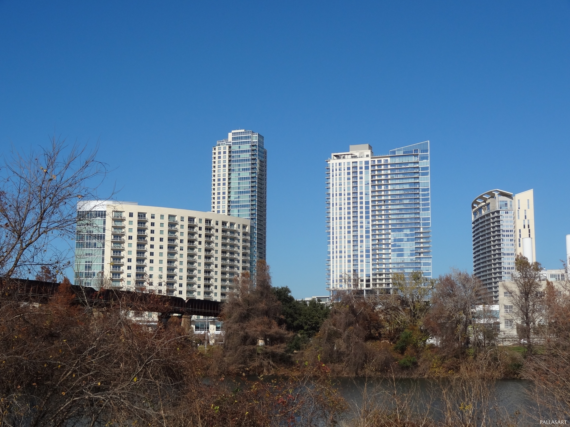 Residential skyscrapers on West Side of Downtown Austin, Texas