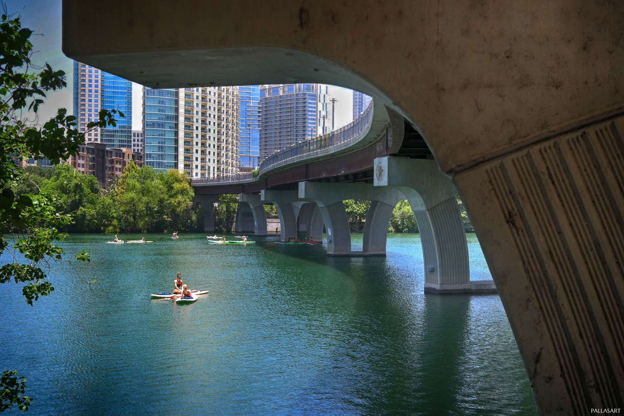 SUP under Pedestrian Bridge over Lady Bird Lake