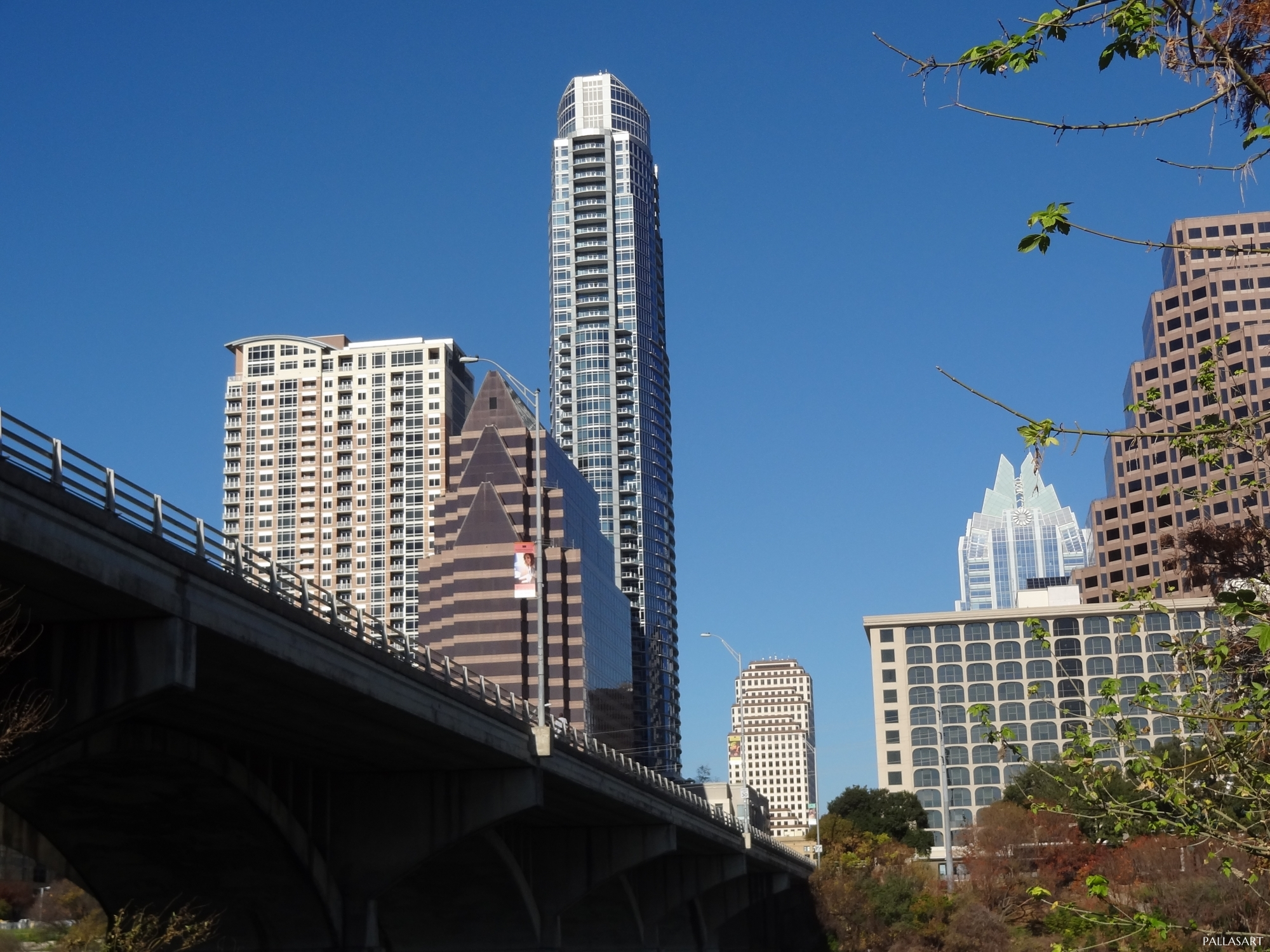 East Side of Austin's Congess Ave. Bridge Looking Downtown