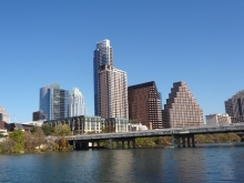 West side of  1st Street Bridge facing North to Downtown Austin