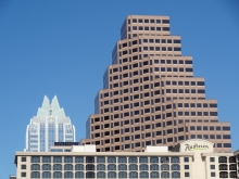 Austin Radisson Hotel with 111 Congress and Frost Bank Buildings Closer
