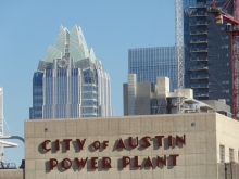 Old City of Austin Seaholm Power Plant with Frost Bank Tower in Background
