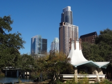 Downtown Austin Texas skyline from Auditorium Shores Gazebo