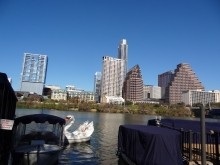 Swan boat on Lady Bird Lake in Austin, Texas