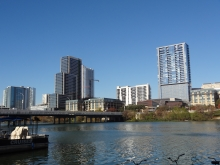 View from East side of 1st Street Bridge to Austin City Hall