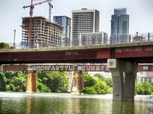 Lady Bird Lake Looking Up at Downtown Austin