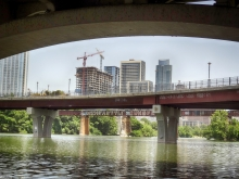 View from under Lamar Blvd., Pedestrian Bridge and Railroad Tracks