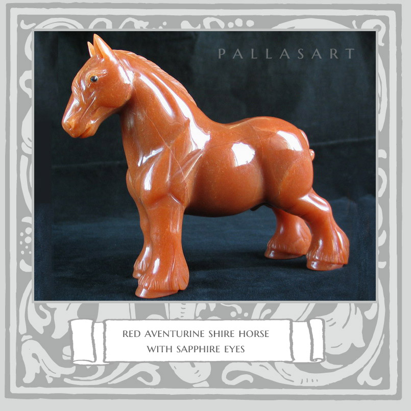 A red aventurine shire horse with sapphire eyes