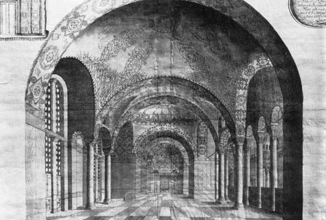 Cornelius Loos drawing of the South Gallery of Hagia Sophia