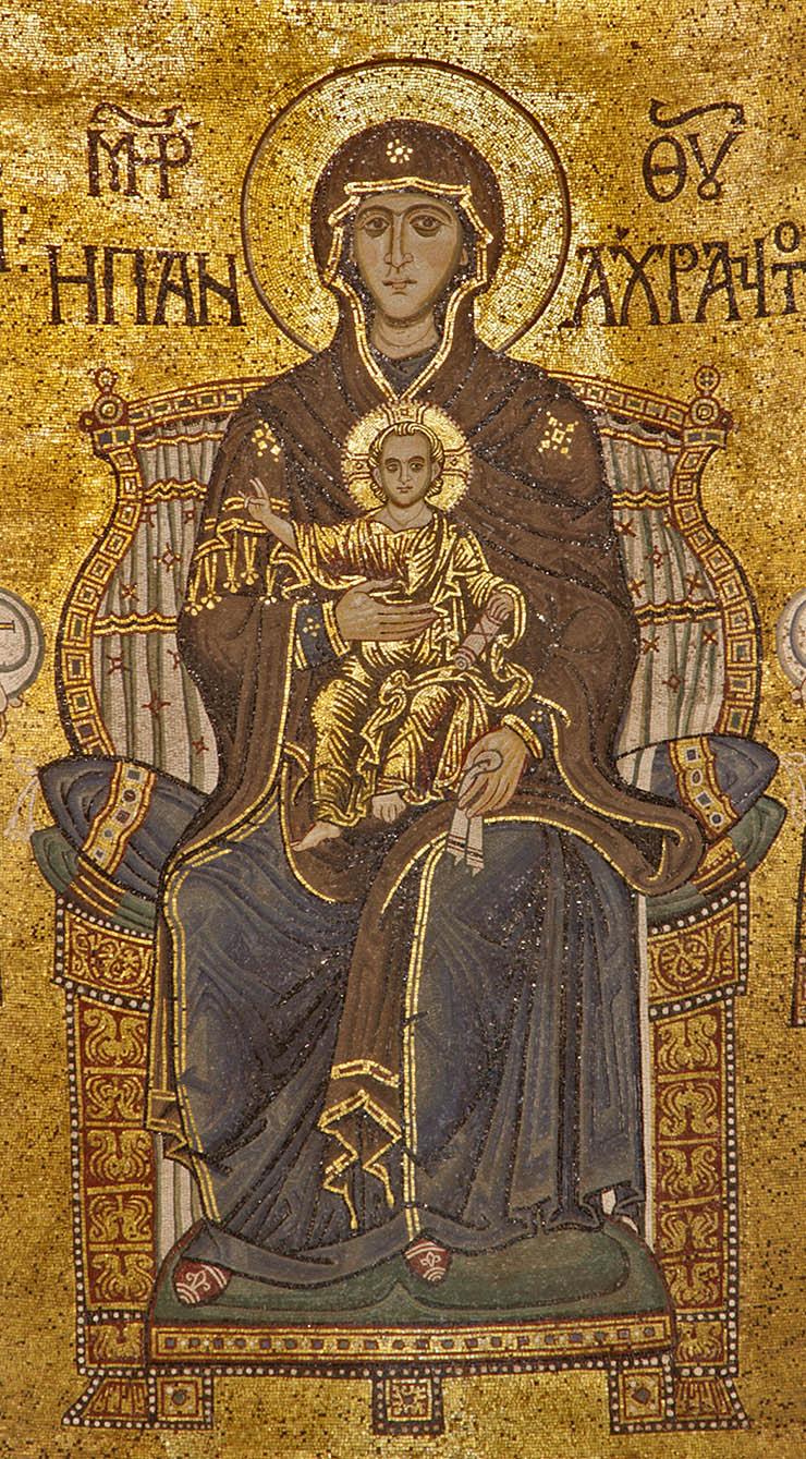 Mosaic of the Theotokos Panakranta and Christ