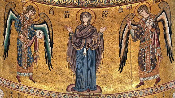Theotokos Oranta with two angels