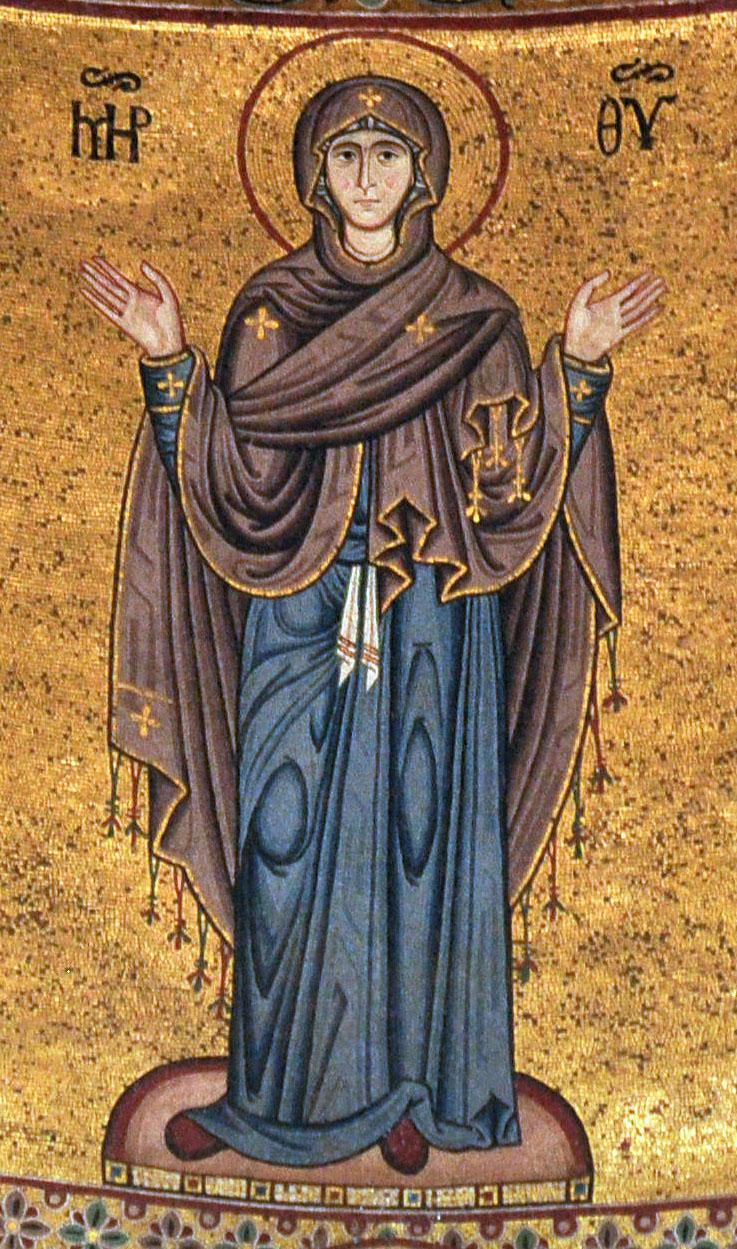 Theotokos Oranta Byzantine Mosaic Cefalu