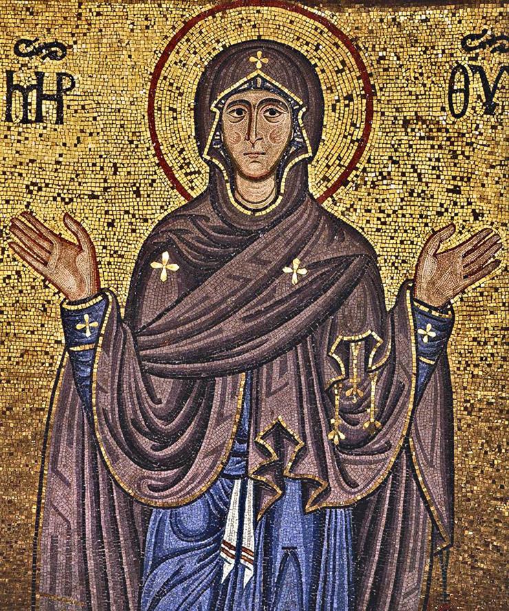 Cefalu Mosaic of the Theotokos Madonna
