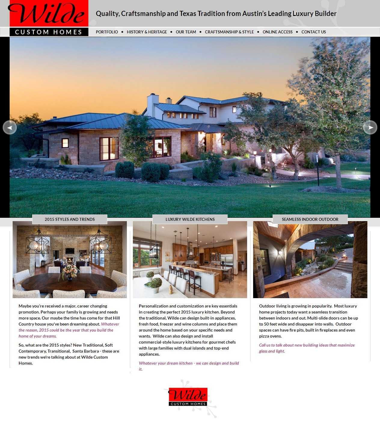 2015 Luxury Austin Home Builder Completes Website Redesign