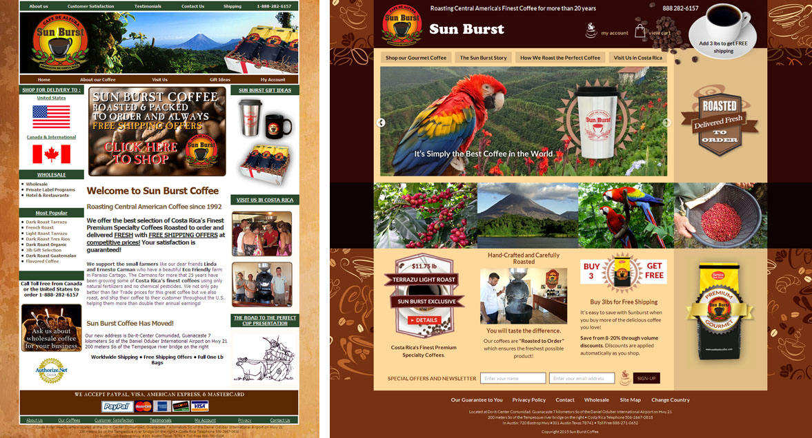 Website makeover example for a coffee roaster